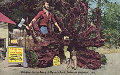 Paul Bunyan Trees of Mystery Shrine of the Redwood Highway Vintage Artwork Wood